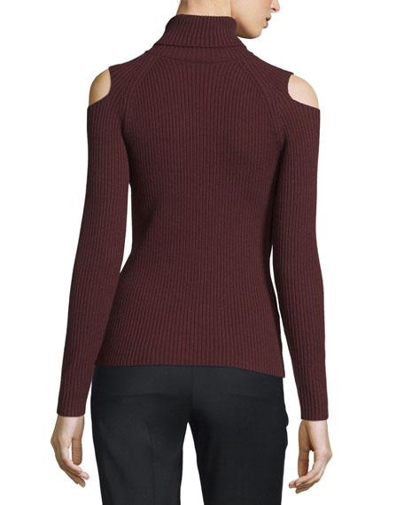 Jemliss Ribbed Cold-Shoulder Sweater
