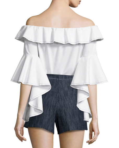 Michelle Off-the-Shoulder Ruffle Top, White