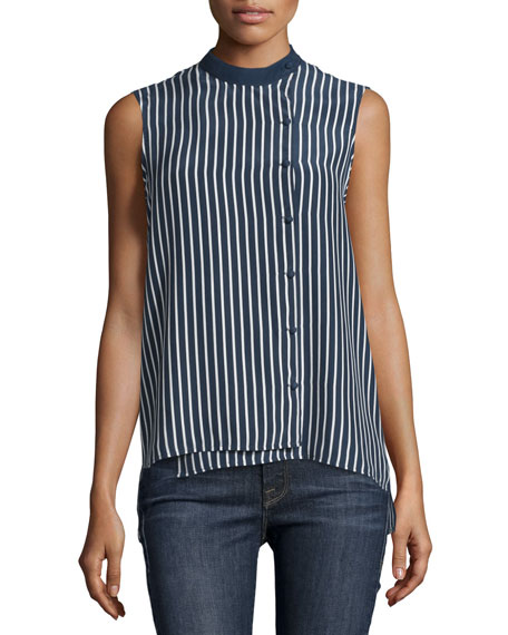 Sleeveless Striped Overlap Blouse