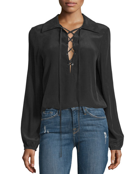 Lace-Up Silk Blouse, Noir