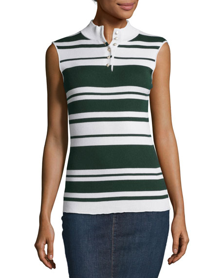 Sleeveless Rib Striped Mock-Neck Sweater, Spruce/Blanc