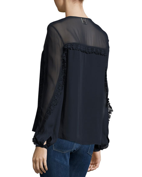 Long-Sleeve Silk Lace-Up Blouse, Midnight