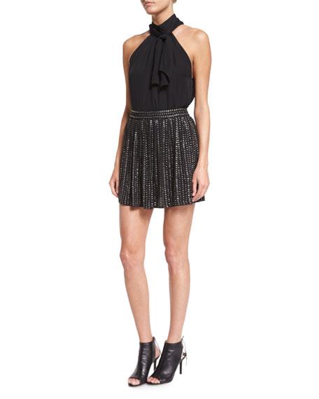 Leather-Sequin Mini Skirt, Black