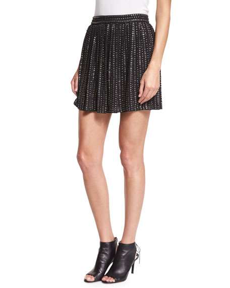 Haute Hippie Leather-Sequin Mini Skirt, Black