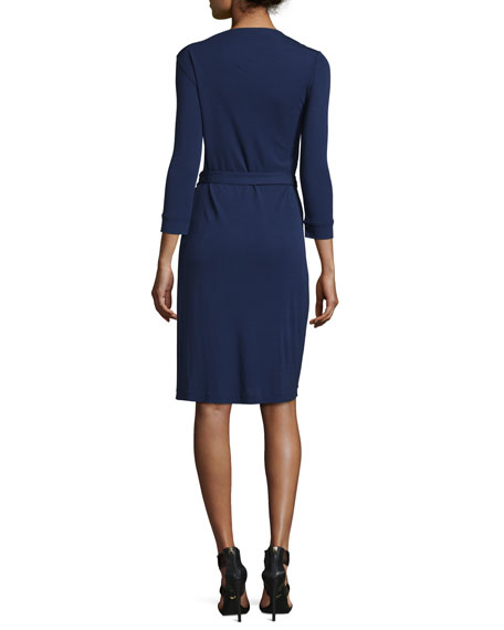 New Julian Two Matte Jersey Wrap Dress, Midnight