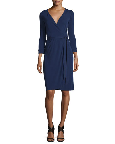New Julian Two Matte Jersey Wrap Dress, Midnight