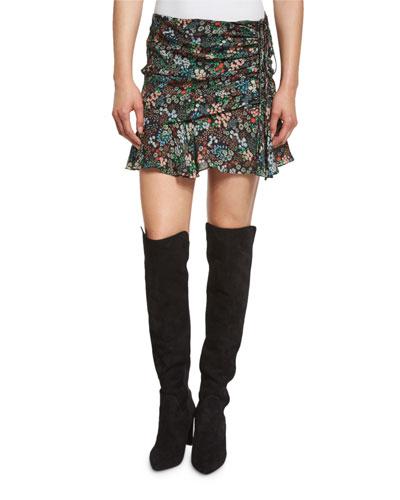 Violet Floral Silk Ruffle Mini Skirt, Black/Multicolor