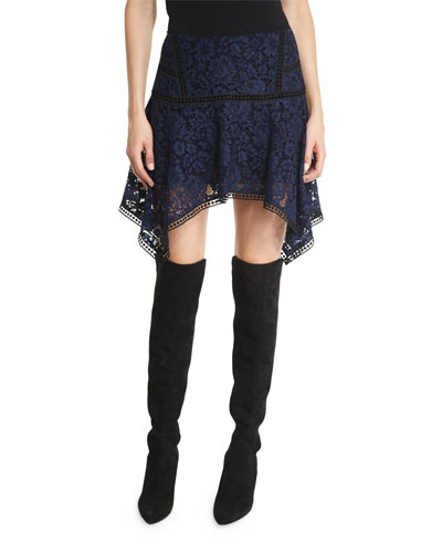 Aura Paneled Floral Lace Skirt, Navy