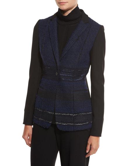 Dorinda Tweed-Front One-Button Jacket, Black/Multi