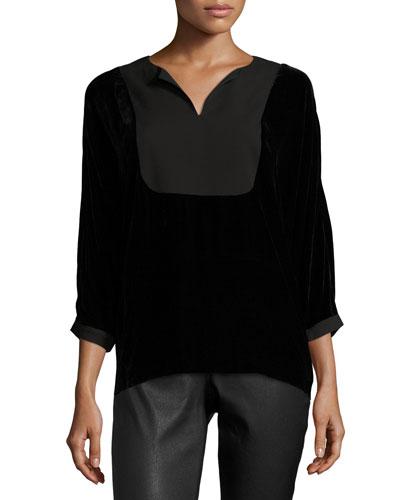Nadya 3/4-Sleeve Yoked Velvet Blouse, Black