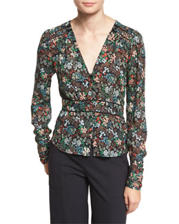 Ripley Ruched Floral Silk Boho Blouse, Black/Multicolor