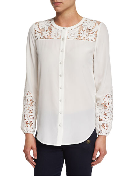 Alma Long-Sleeve Embroidered Silk Blouse, Off White