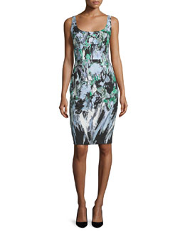Sleeveless Painterly Floral-Print Sheath Dress, Black Multi
