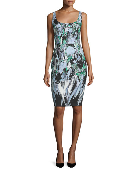 Sleeveless Painterly Floral-Print Sheath Dress, Black Multi