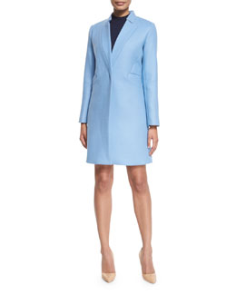 Slim Double-Face Wool-Blend Coat, Ice
