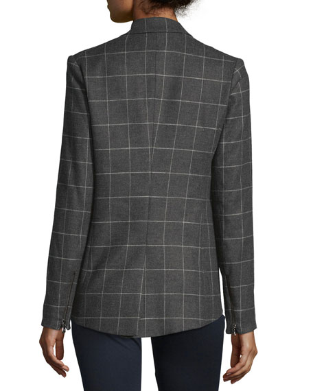 Freebird Windowpane Stretch Blazer, Charcoal