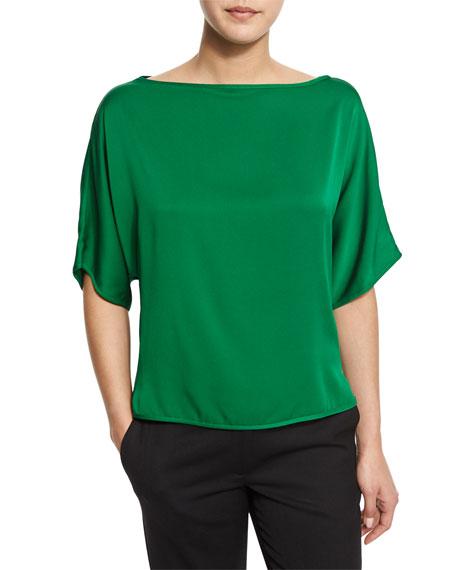 0ae2c8b79a3bc4 Milly Dolman-Sleeve Silk-Blend Blouse, Emerald