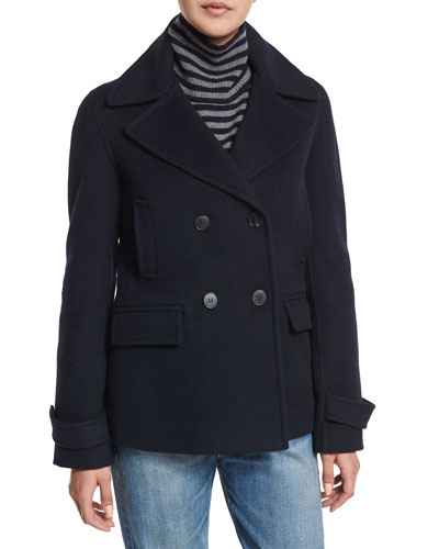 Wool-Blend Pea Coat, Coastal Blue