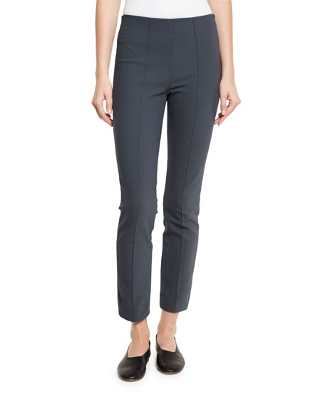 Stretch-Woven Seamed Leggings, Dark Gray