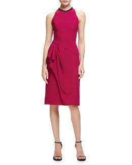 Sleeveless Ruffle-Trim Sheath Dress, Fuchsia