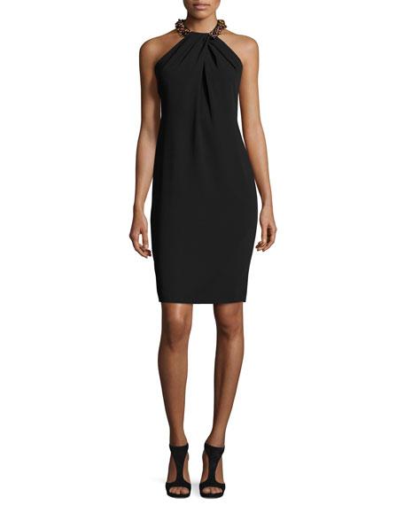 475e73b0939d23 Carmen Marc Valvo Sleeveless Beaded Crepe Cocktail Dress, Black