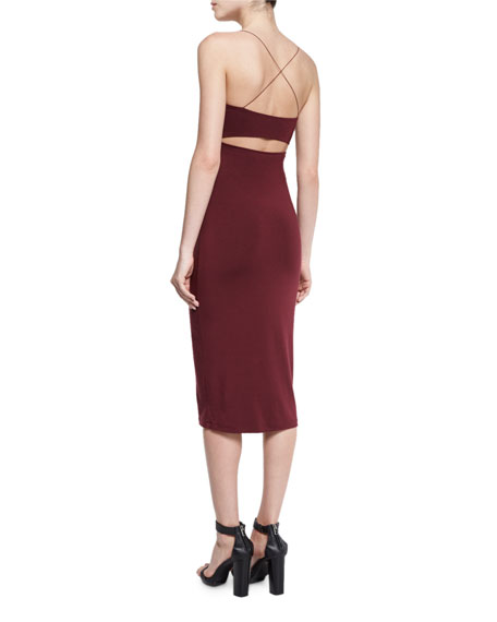 Strappy Camisole Midi Dress, Wine