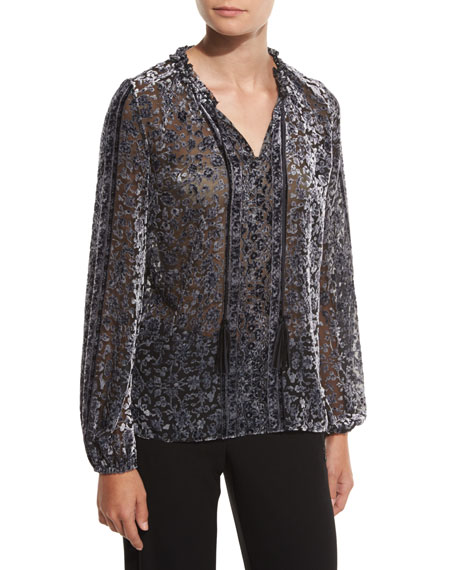Linora Velvet Devore Blouse, Black/Multi