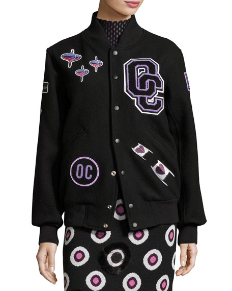 Leather-Trim Logo Varsity Jacket, Black/Multicolor