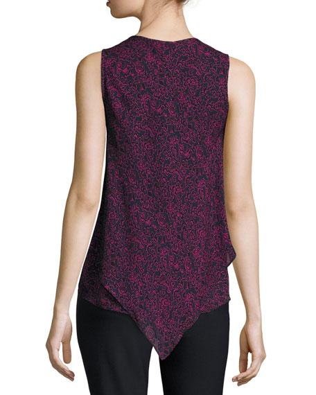 Laced Printed Silk Handkerchief Tank, Midnight