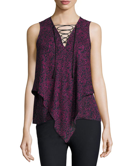 Laced Printed Silk Handkerchief Tank, Midnight