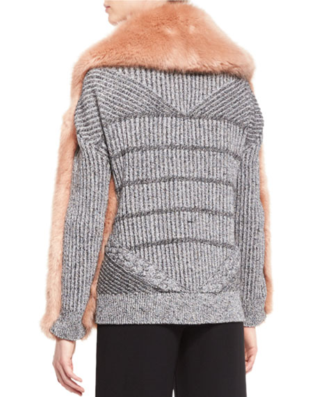 Faux-Fur Mixed-Media Cardigan, Desert