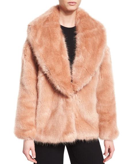 Faux-Fur Mixed-Media Cardigan, Desert