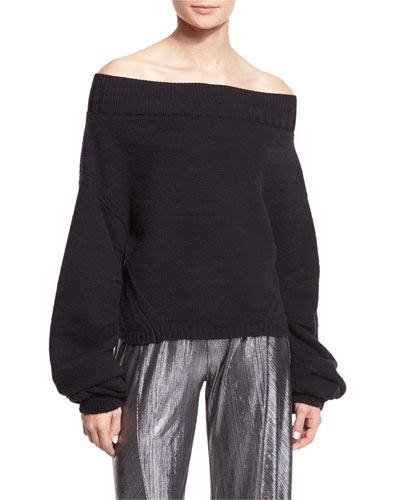 Off-the-Shoulder Wool-Blend Sweater, Black