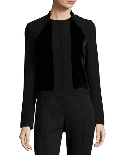 Kemper Velvet-Combo Cropped Jacket, Black