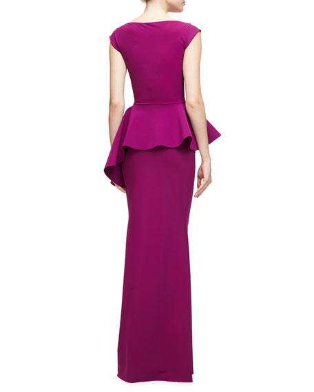 Etheline Cap-Sleeve Peplum Column Gown