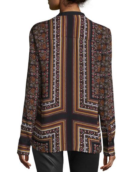 Franco Long-Sleeve Silk Multipattern Top, Brown/Multicolor
