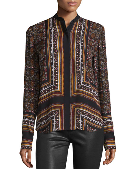 Franco Long-Sleeve Silk Multipattern Top, Brown/Multicolor