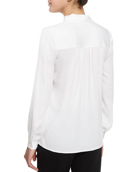 Tie-Neck Silk-Blend Button-Front Blouse, White