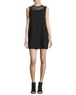 Sleeveless Embellished Crepe Shift Dress, Black/Multicolor