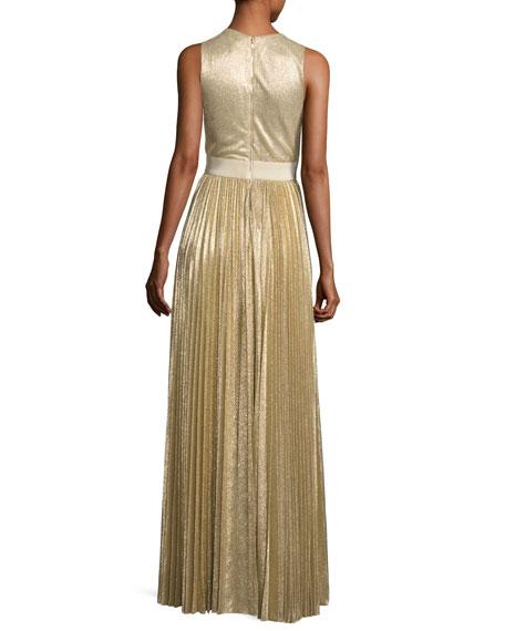 Sleeveless Pleated Metallic Gown, Light Gold