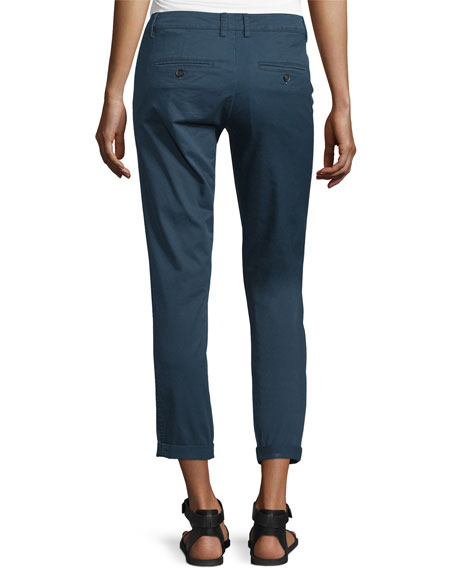 Twill Boyfriend Trousers, Slate Blue