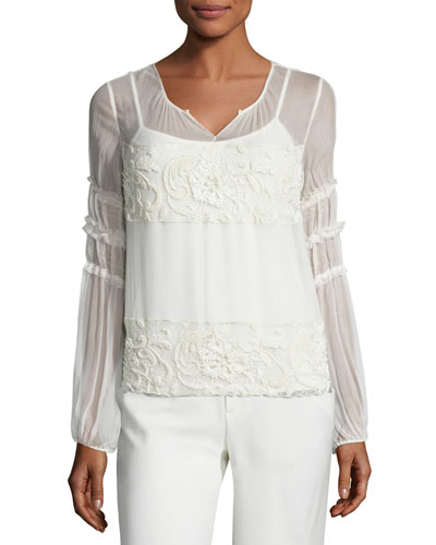 Maeve Embroidered Plissé Silk Blouse