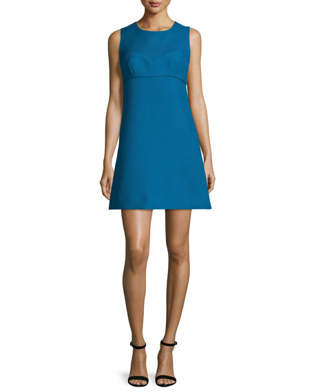Milly Sleeveless Sweetheart-Illusion Twill Mini Dress, Azure
