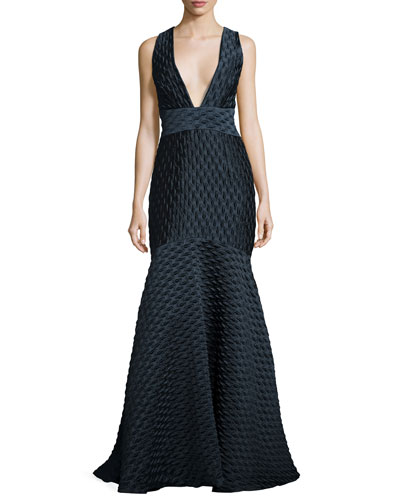Cross-Back Jacquard Mermaid Gown, Navy