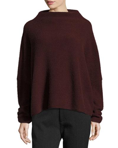 Cashmere Funnel-Neck Sweater, Cordovan