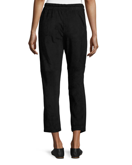 Suede Cropped Track Pants, Black