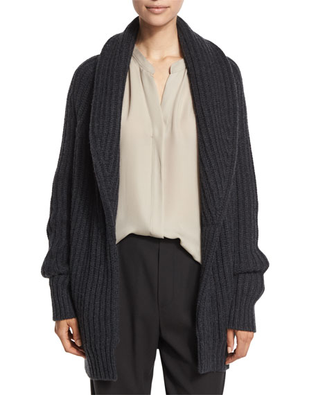 Ribbed Cardigan-Style Car Coat