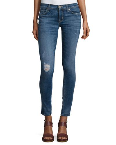 Krista Distressed Skinny Ankle Jeans, Fierce