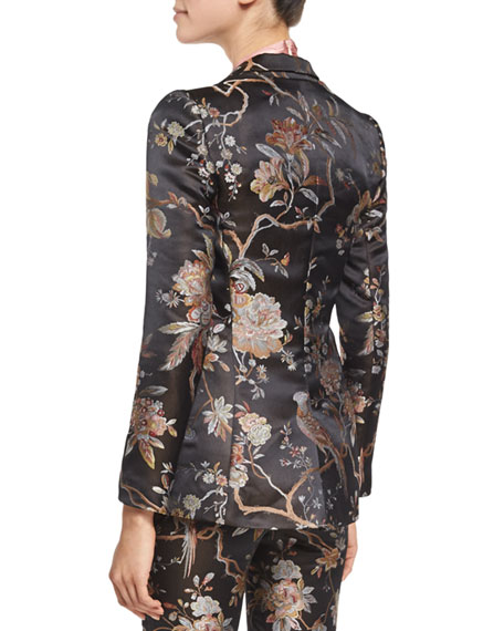 Macey Floral-Print Single-Button Blazer, Burgundy