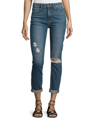 Carter Slim-Leg Harvey Destructed Jeans, Blue